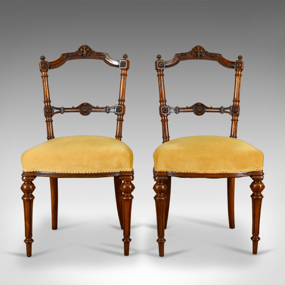 pair of antique chairs english walnut aesthetic period side circa 1880