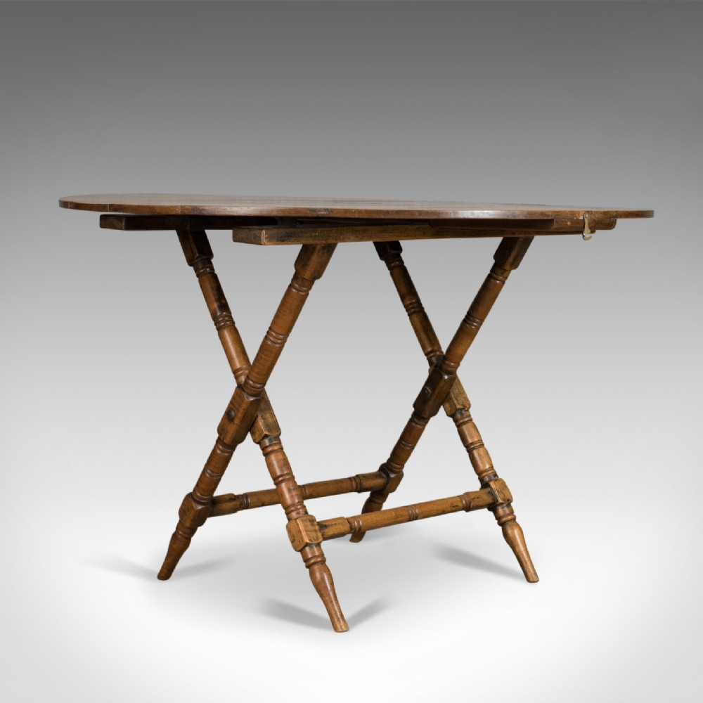 antique campaign table english victorian folding beech fruitwood circa 1890