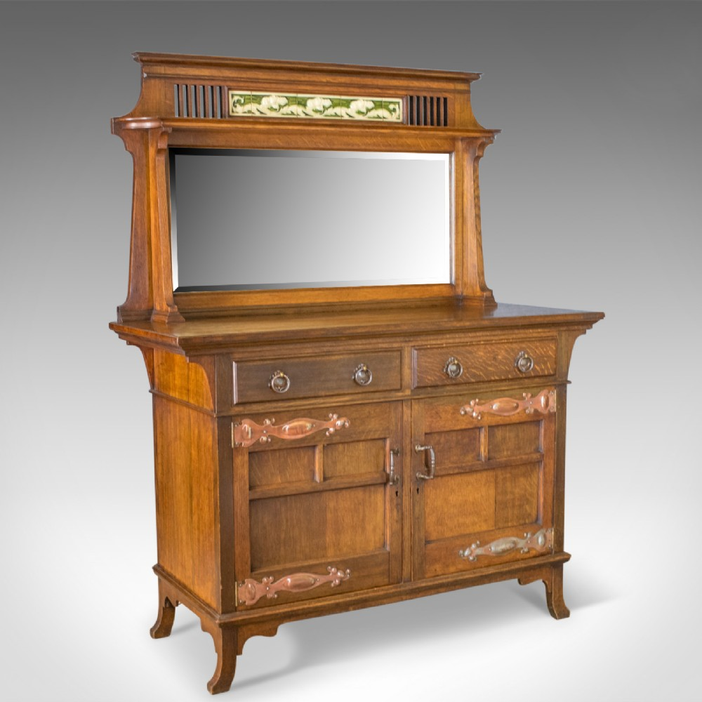 antique sideboard english oak arts crafts cabinet liberty taste circa 1900