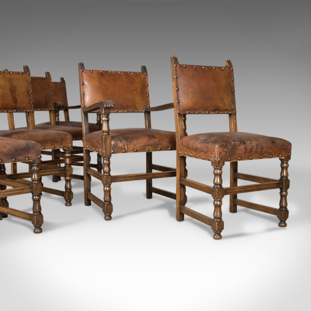 set of six antique dining chairs edwardian in 17th century taste oak leather