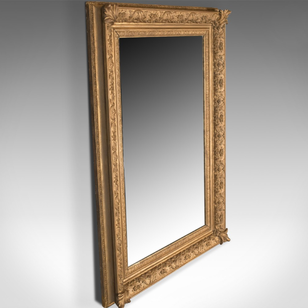 Large Antique Wall Mirror Victorian Gilt Gesso Frame Overmantel