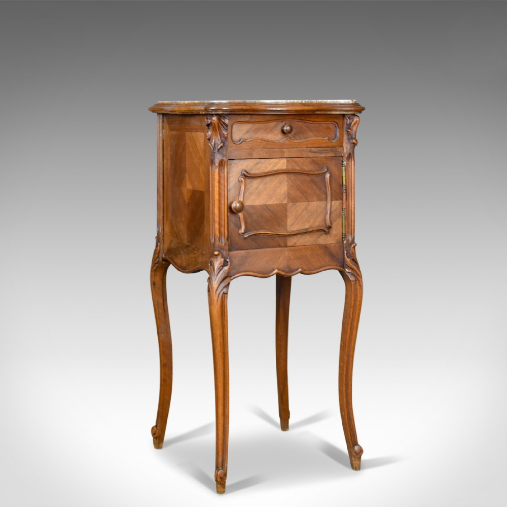 antique bedside cabinet french walnut marble top pot cupboard circa 1890