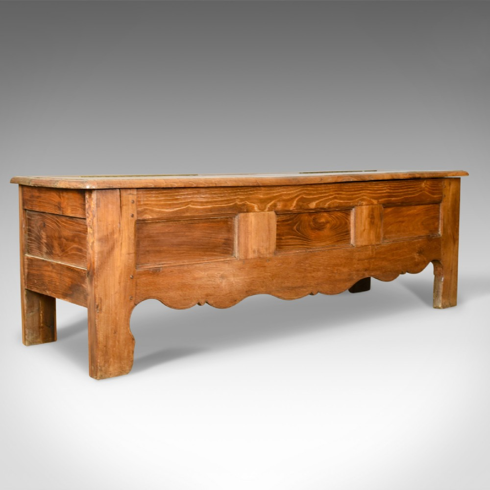 antique coffer long french oak blanket chest trunk circa 1800