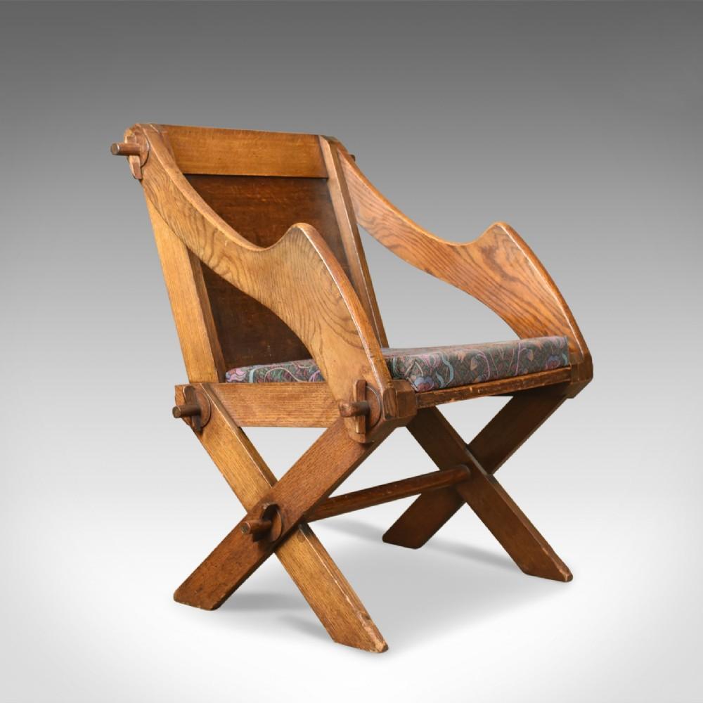 antique glastonbury chair english tudor revival hall seat circa 1900