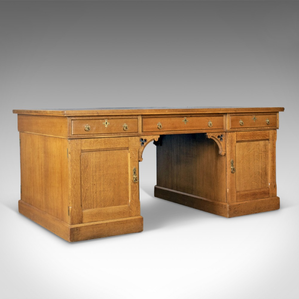 antique partner's desk john taylor son edinburgh gothic oak circa 1870