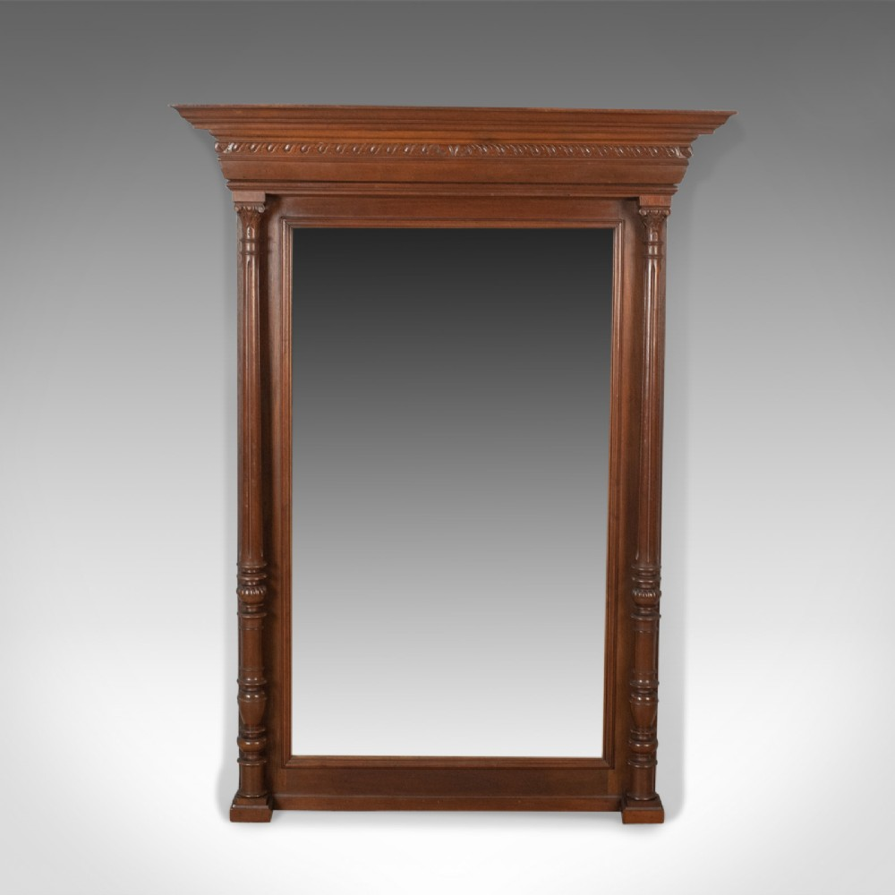 antique overmantel mirror victorian classical revival wall walnut circa 1880
