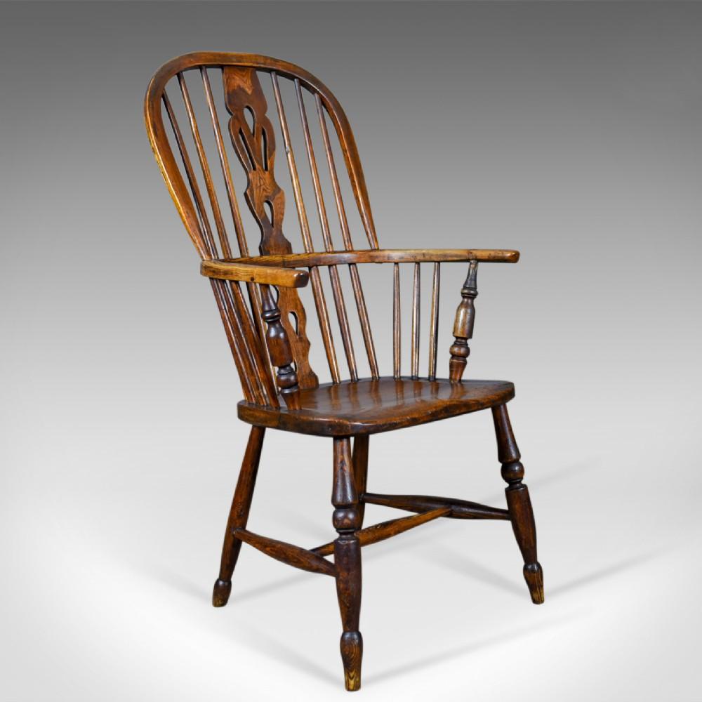 antique windsor armchair english victorian stick back elbow chair circa 1860