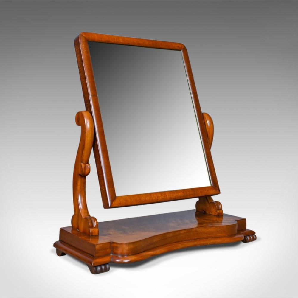 antique platform mirror flame mahogany english victorian vanity circa 1870