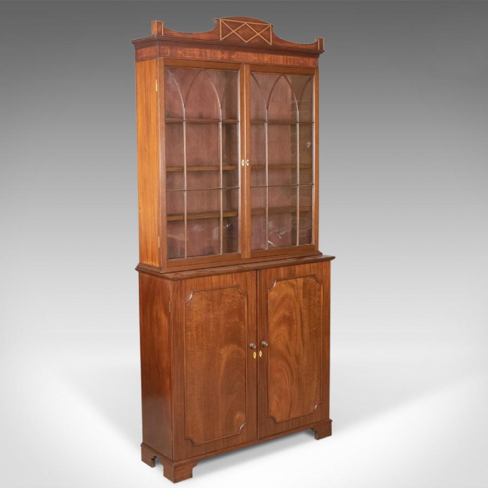 antique bookcase english victorian mahogany display cabinet circa 1900