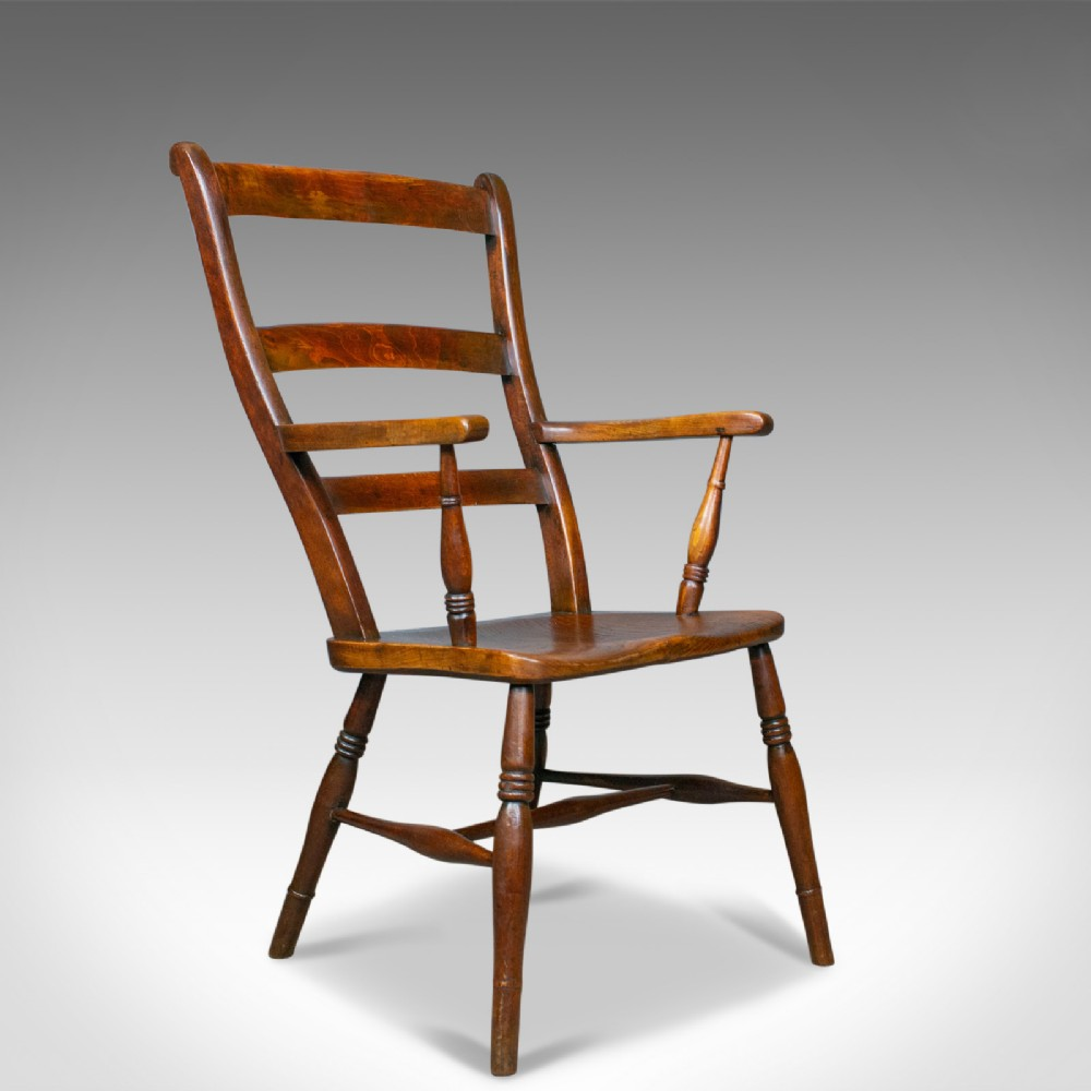 antique oxford elbow chair victorian windsor lath back armchair elm c1850