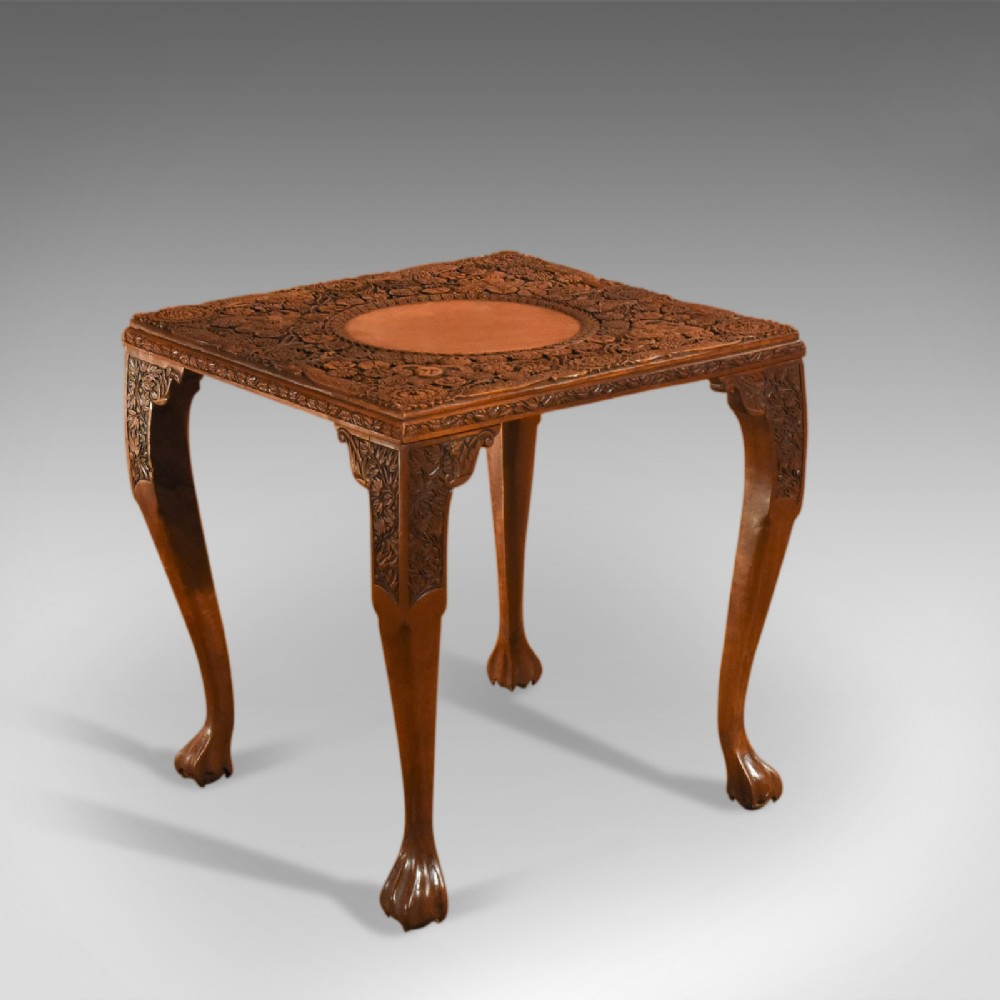antique indian tea table victorian carved square coffee side display c1900