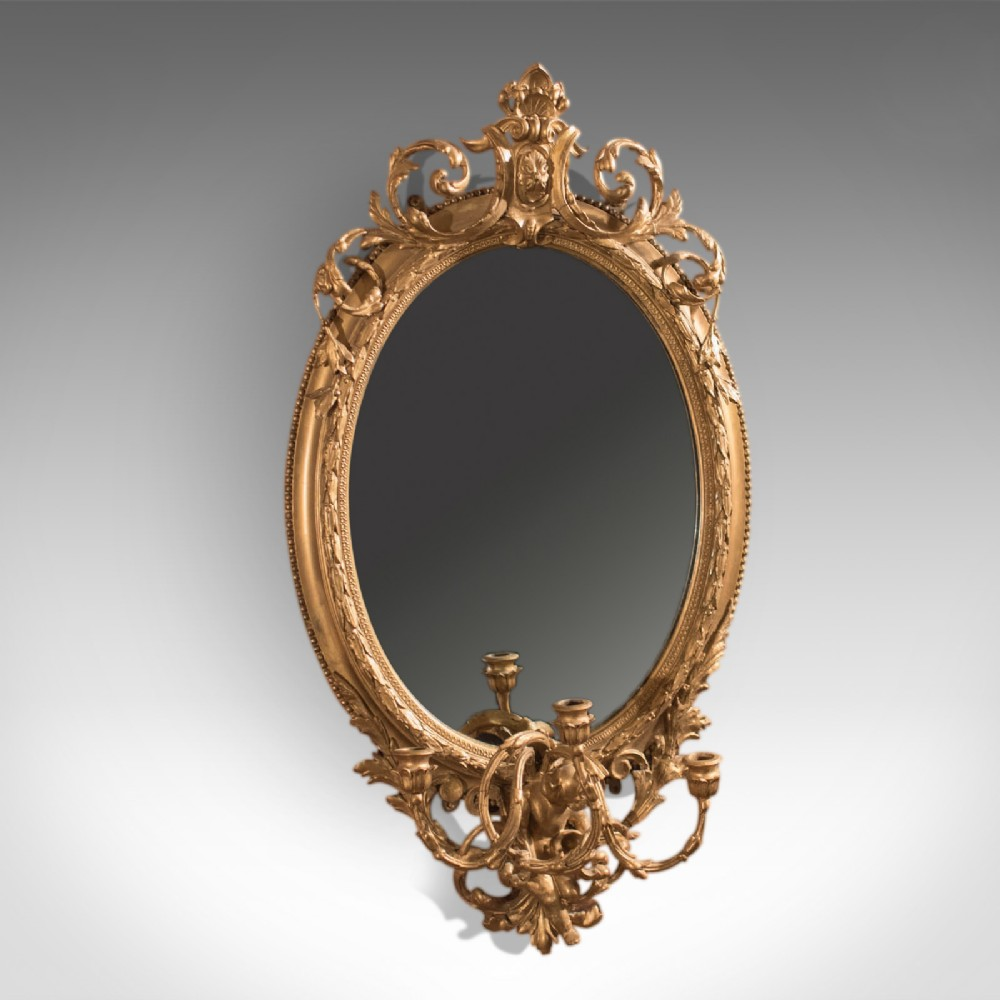 antique girandole gilt gesso mirror wall vanity rococco late georgian c1800