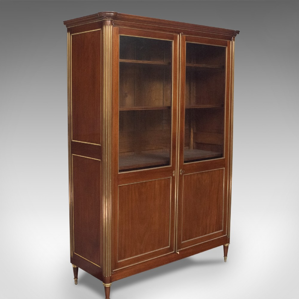 19th century french louis xvi revival two door bookcase vitrine cabinet