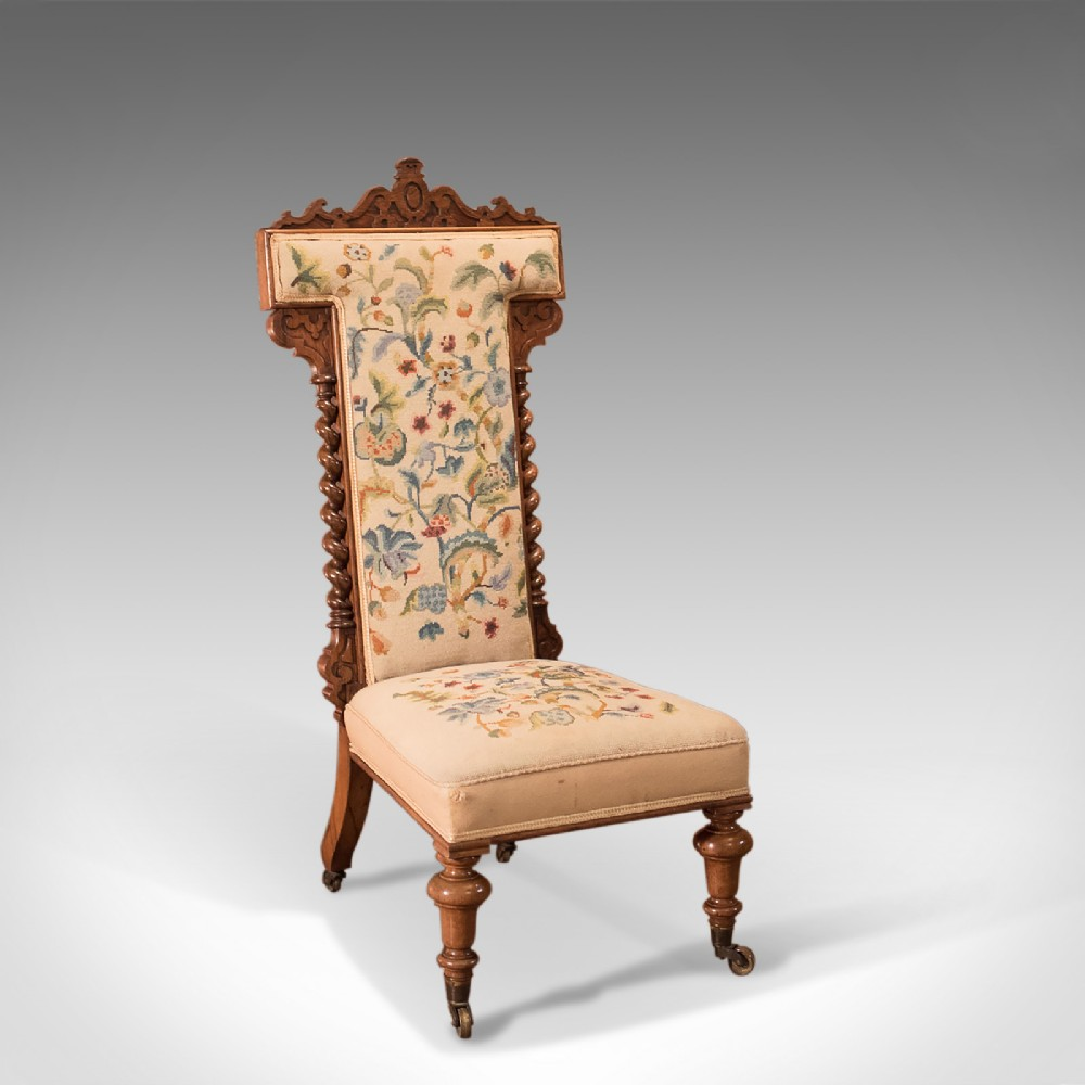 antique prie dieu chair needlepoint seat english victorian rosewood c1850