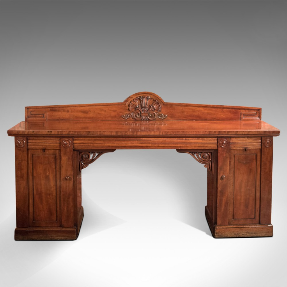 large william iv antique pedestal sideboard in mahogany circa 1835