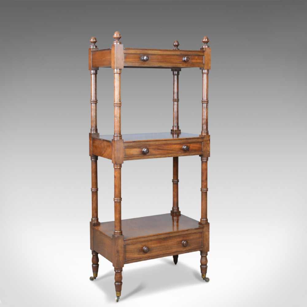antique whatnot english mahogany three tier victorian display stand c1860
