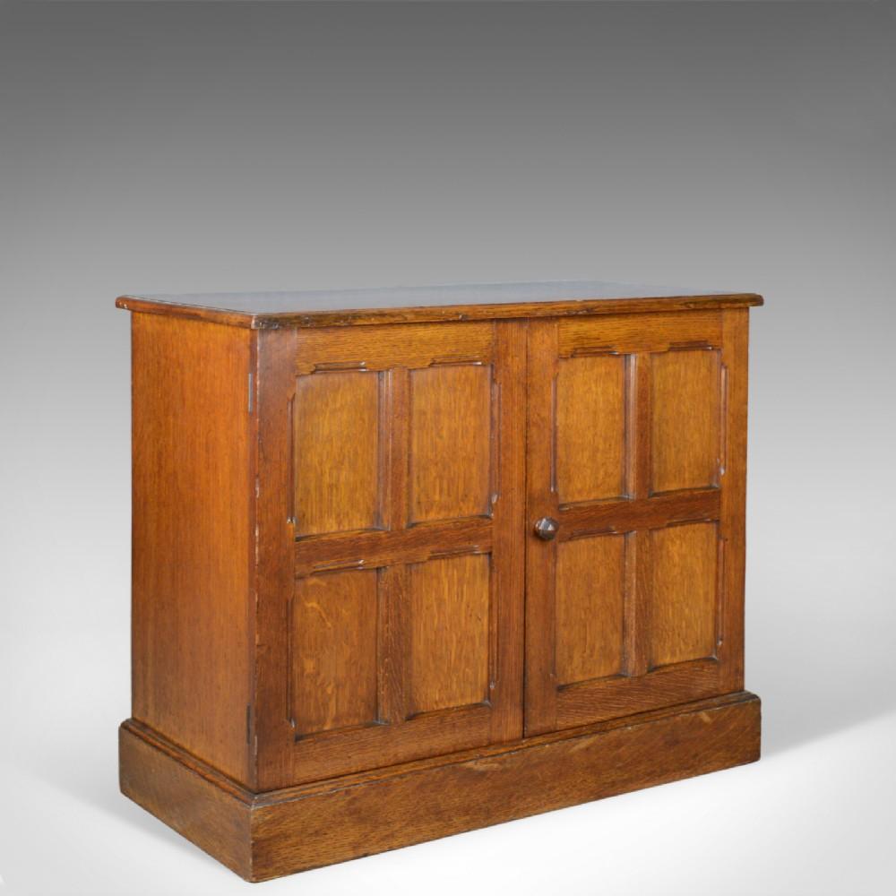 antique oak cupboard two door english panelled low cabinet edwardian c1910