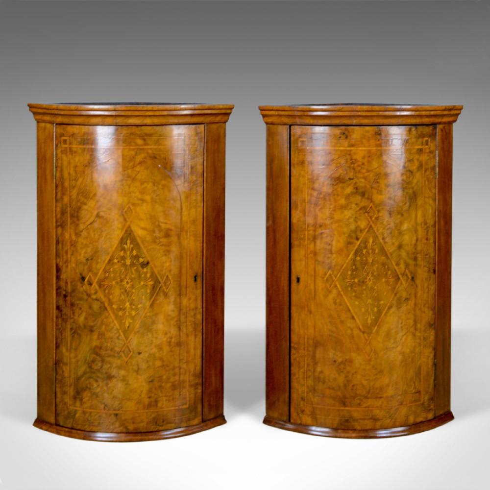 antique pair of georgian revival corner cabinets english burr walnut c1910