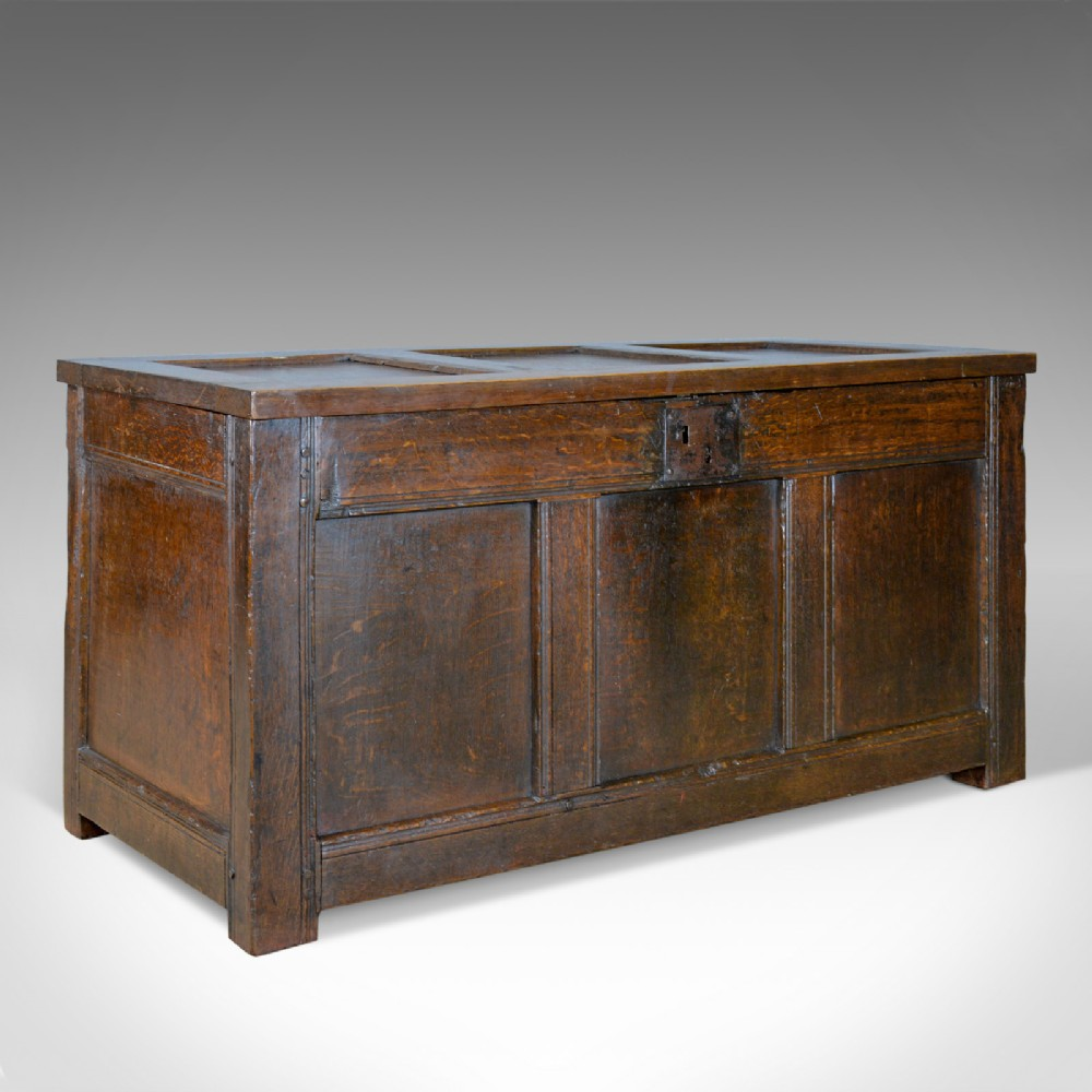 antique coffer oak joined chest three panel trunk early 18th century c1700