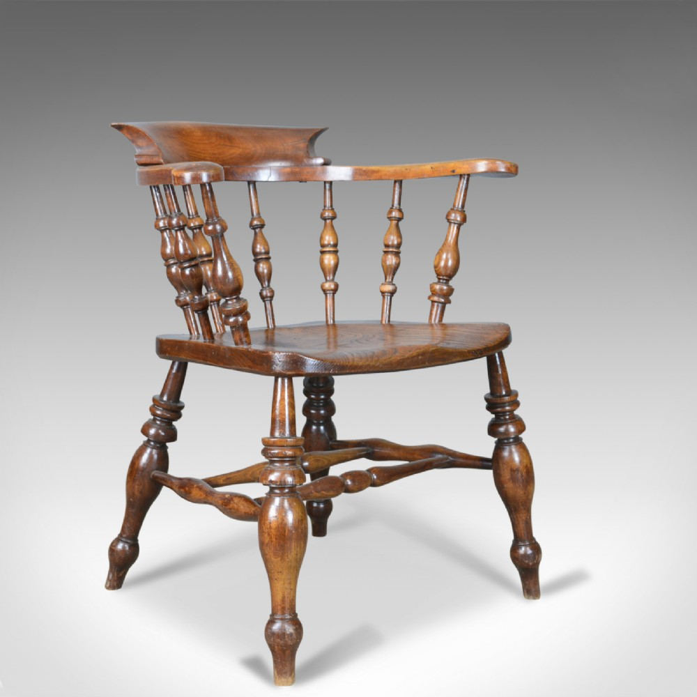antique bow chair smokers captains english victorian elm windsor c1870