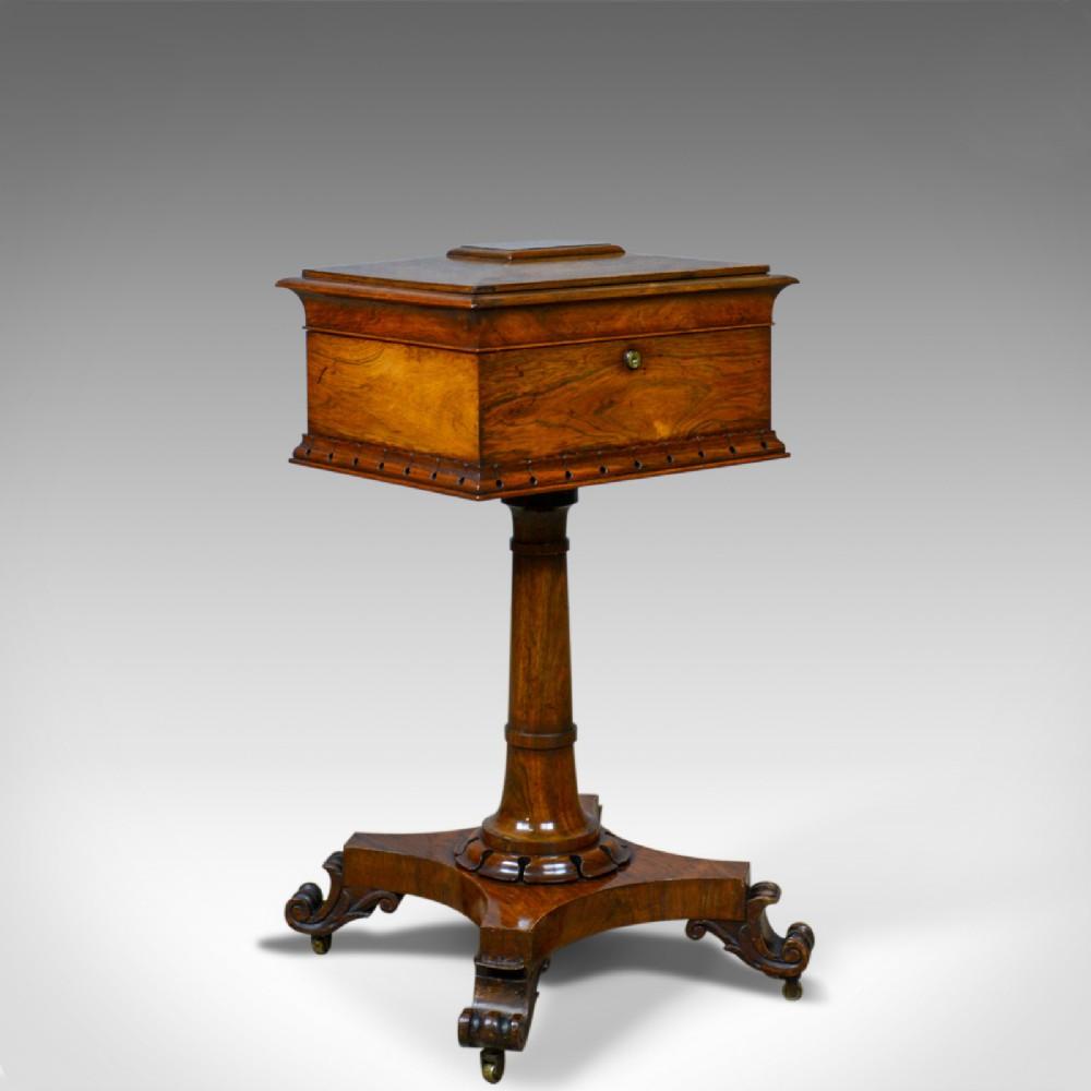 antique teapoy english william iv rosewood work box 19th century circa 1835
