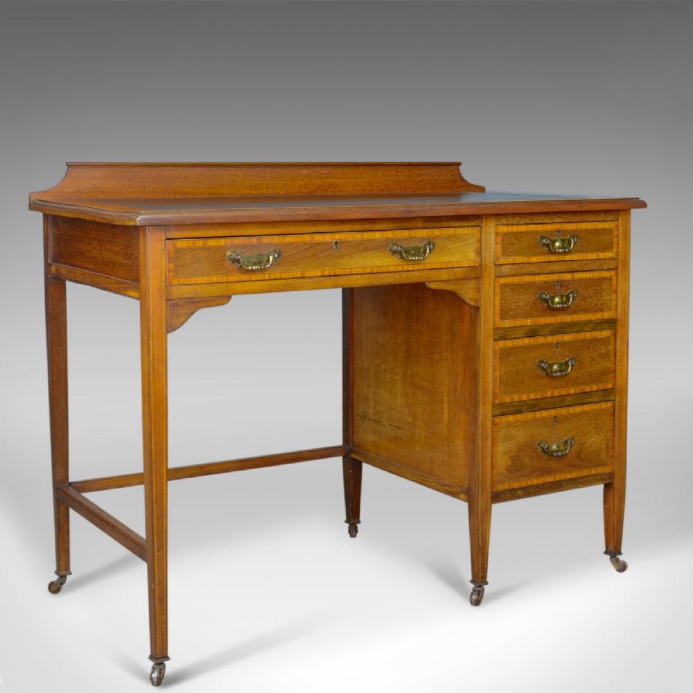 antique open pedestal desk english edwardian kneehole writing circa 1910