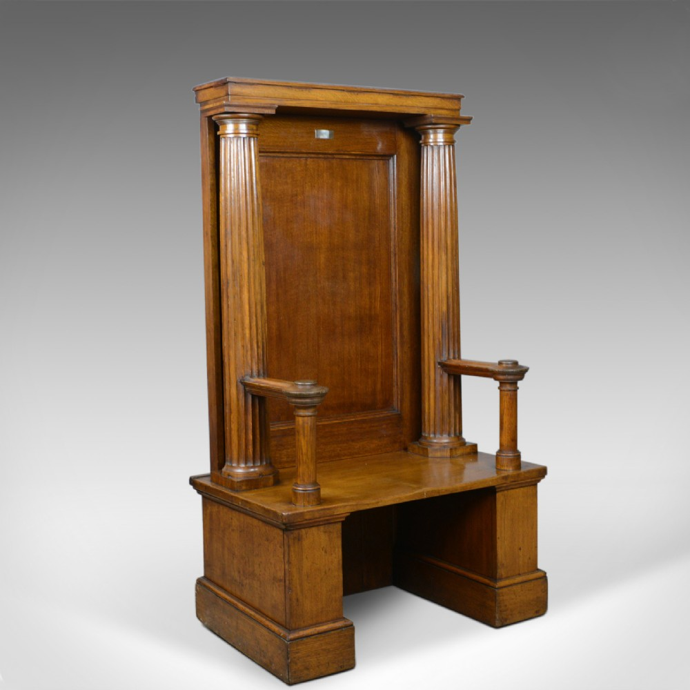 large antique oak throne chair edwardian bench seat classical doric c1910