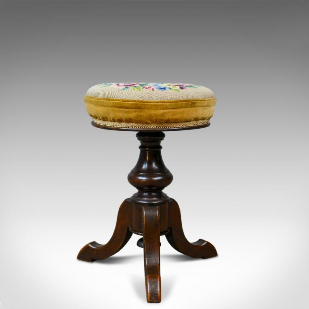 adjustable antique piano stool english victorian walnut music circa 1880
