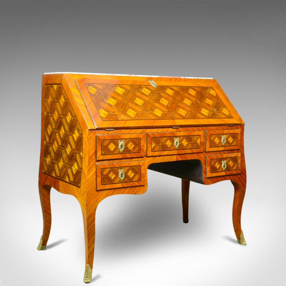 antique bureau french marble top kingwood marquetry circa 1900