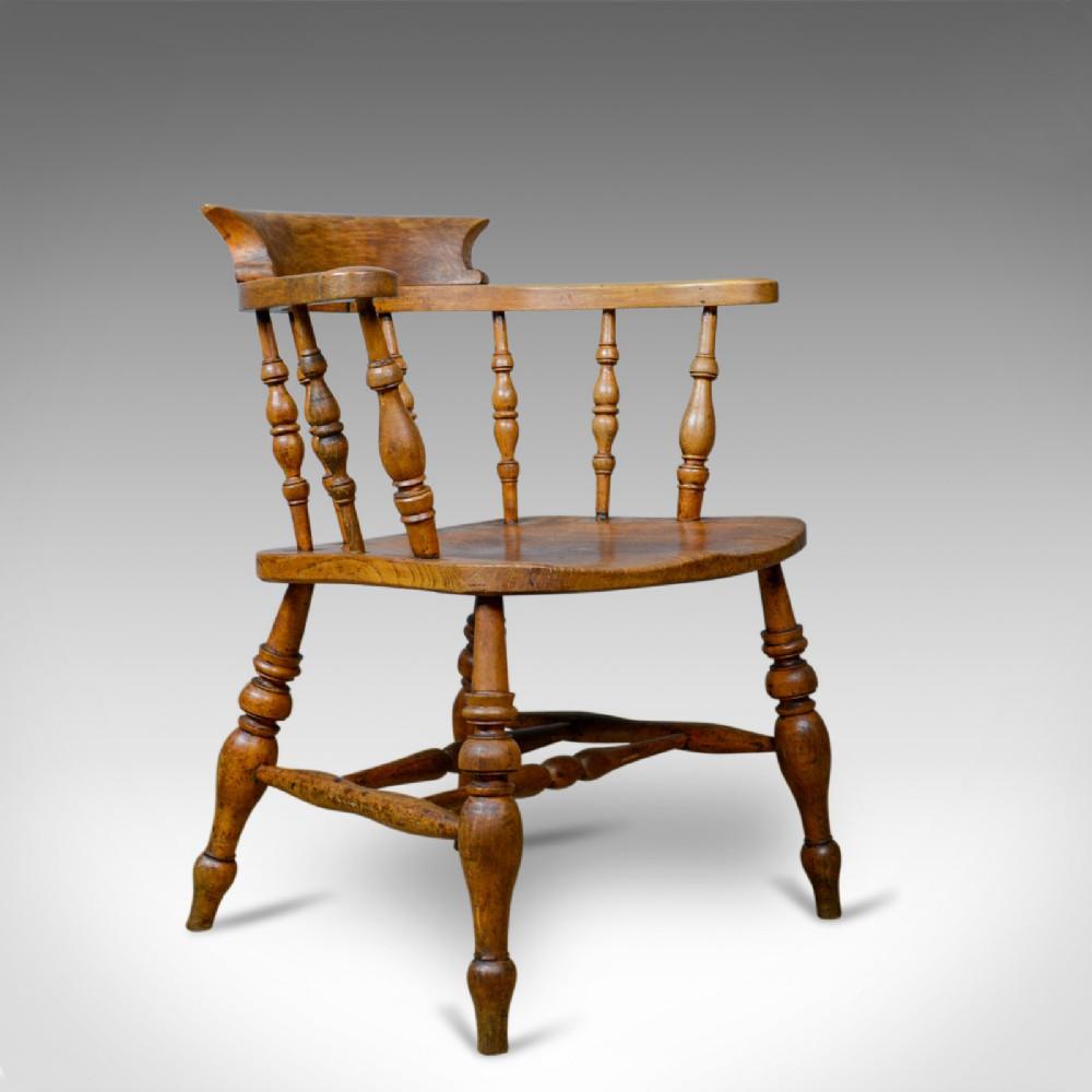 antique bowback elbow chair english victorian smokers captains circa 1890