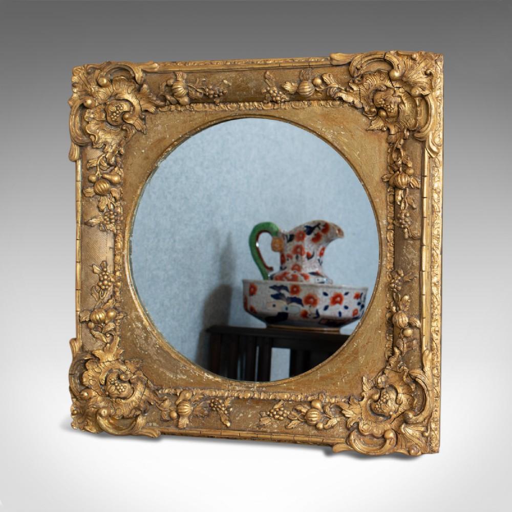 antique wall mirror english victorian gilt gesso square circular circa 1870
