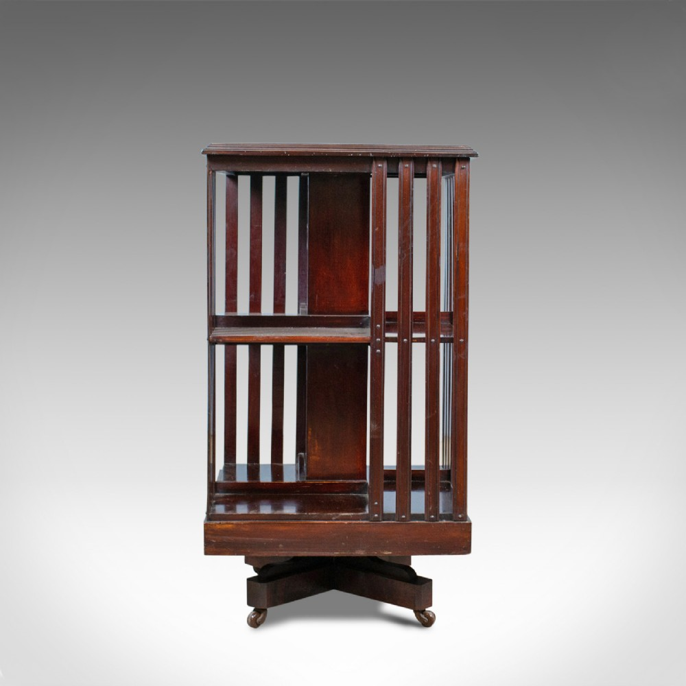 antique revolving bookcase english edwardian walnut bookshelf circa 1910