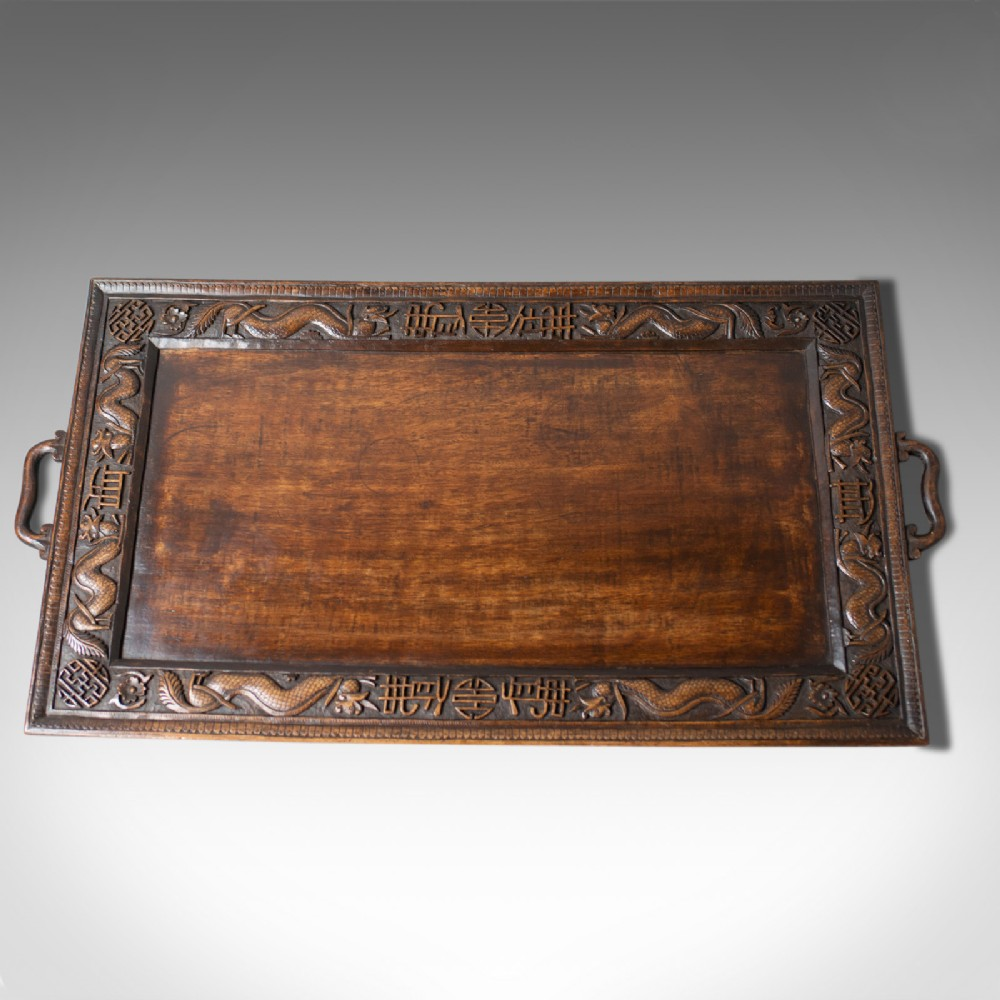 antique tray oriental carved teak early 20th century circa 1900