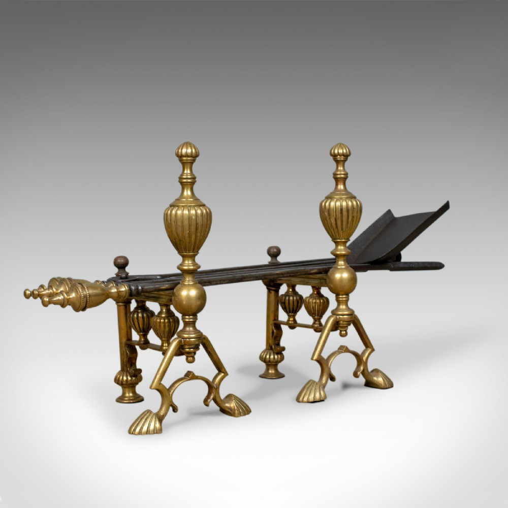 antique companion set of fire irons on rests classical revival circa 1880