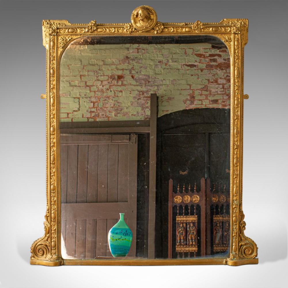 antique overmantel mirror italian classical gilt gesso wall circa 1850
