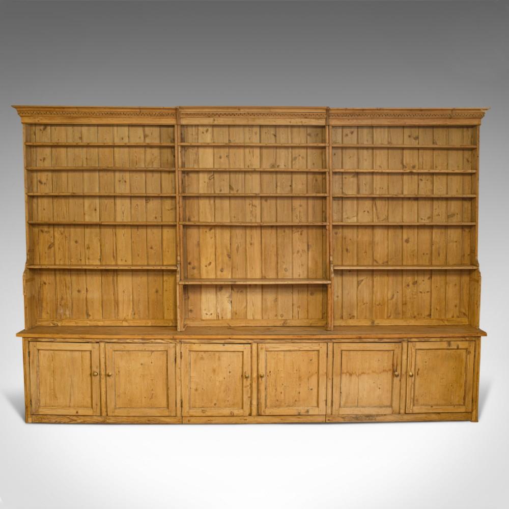 very large antique dresser victorian pine kitchen cabinet bookcase c1850