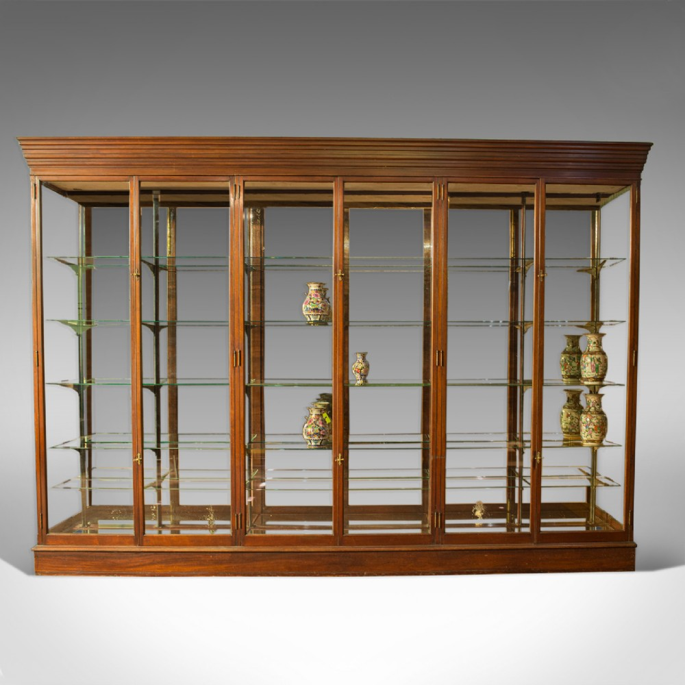 very large antique shop display cabinet victorian mirrorback cabinet c1900