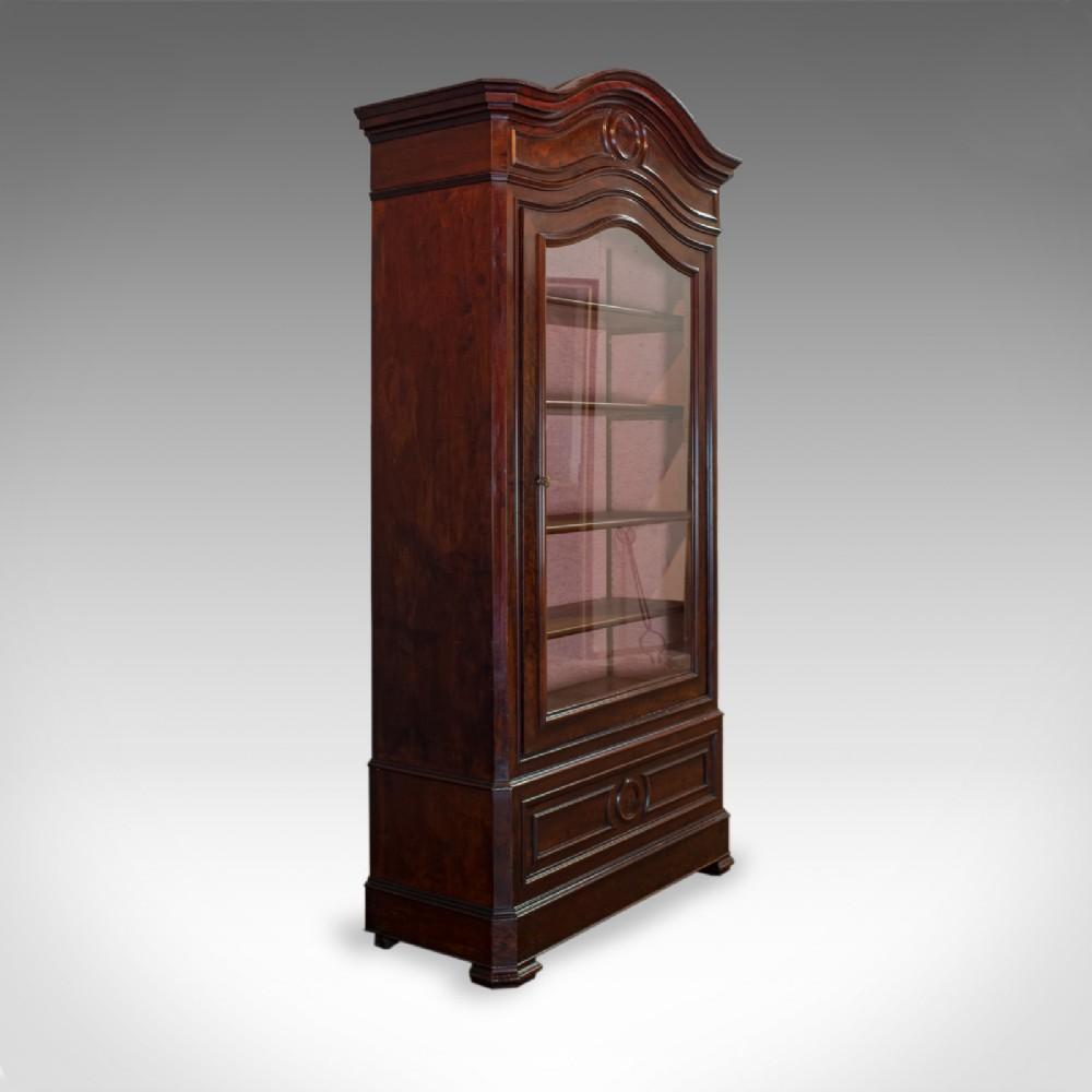 antique display cabinet victorian flame mahogany vitrine circa 1850