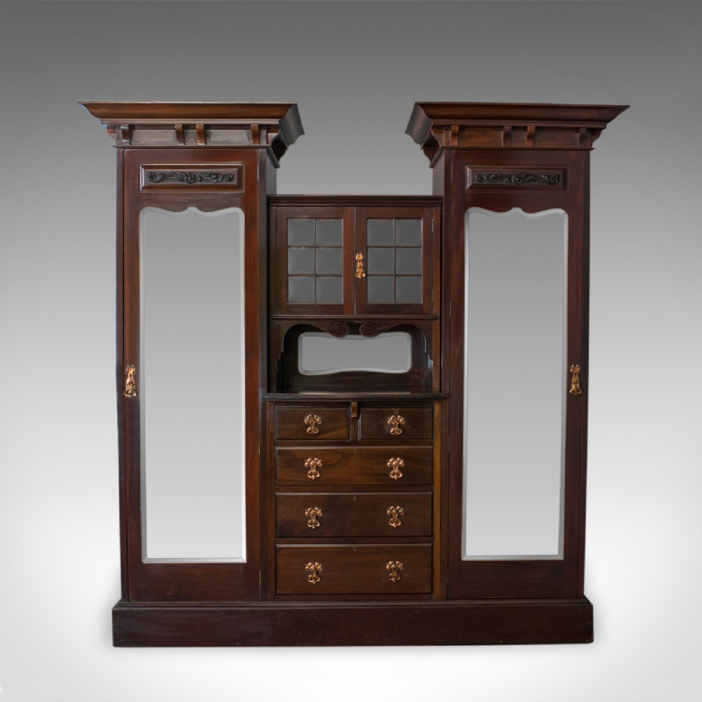 antique wardrobe maple and co english mahogany victorian art nouveau c1880