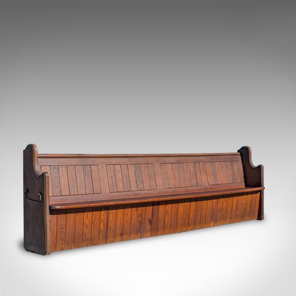 large antique pew 10 feet english pitch pine bench seat 78 19th century