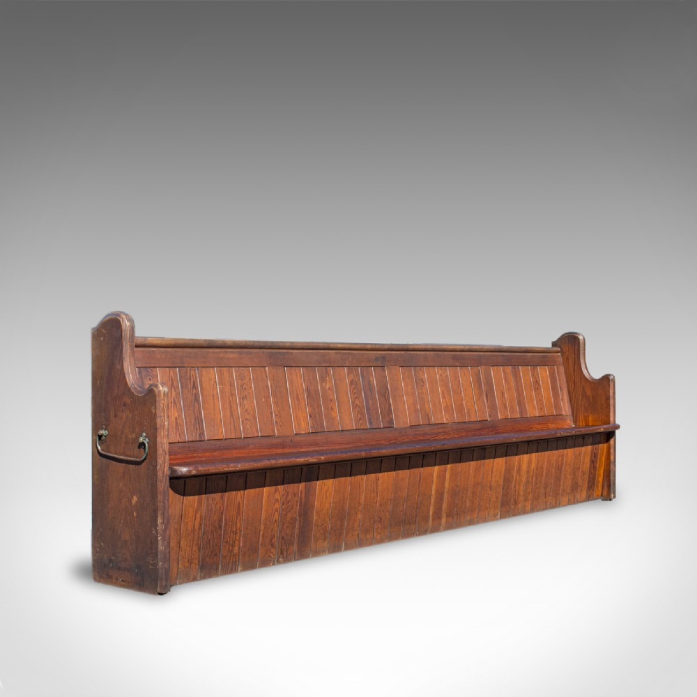 long 10 foot antique pew english pitch pine bench seat 78 victorian c1880