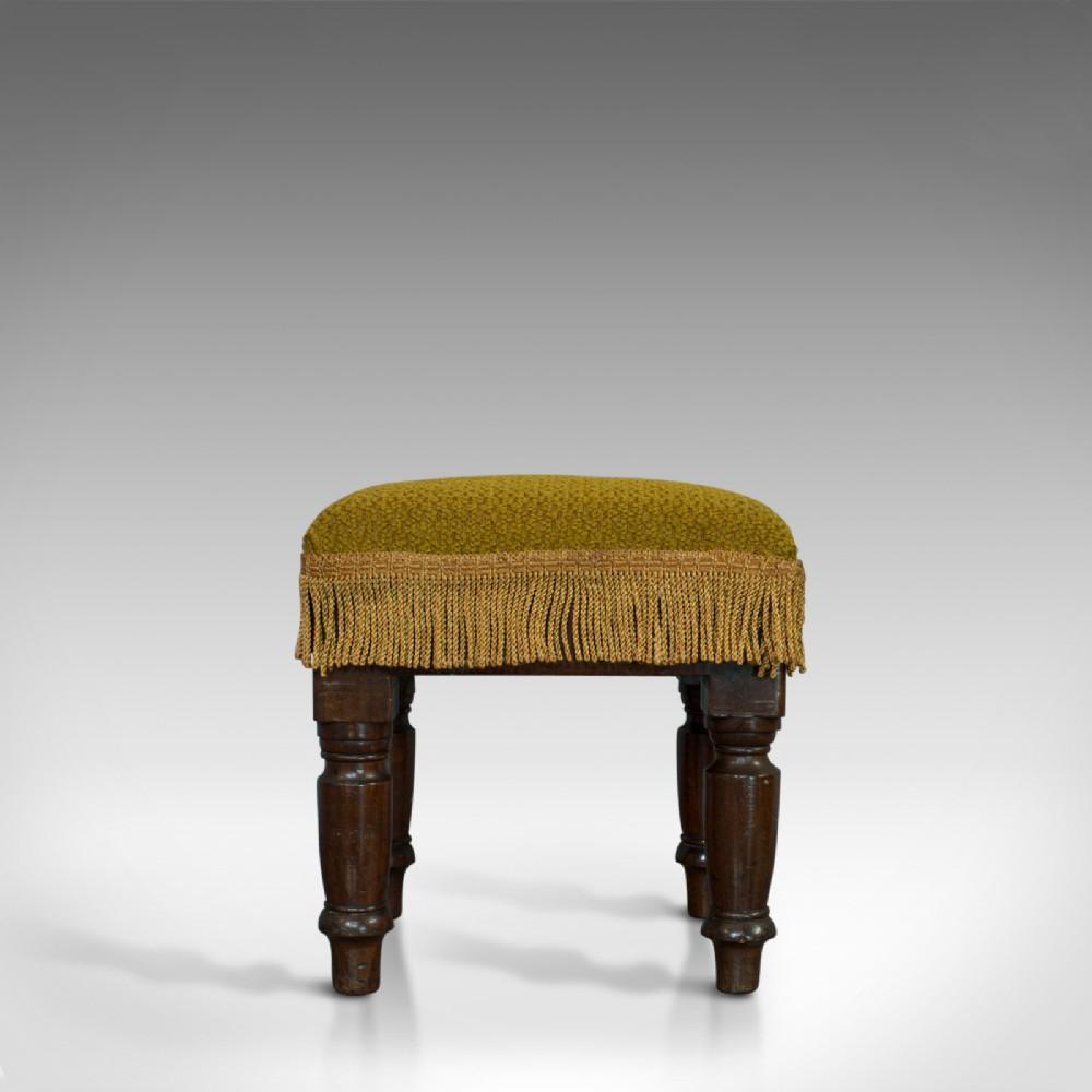 antique footstool english mahogany stool upholstered victorian circa 1880
