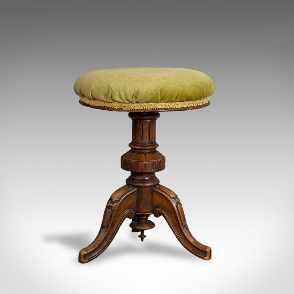 antique adjustable piano stool english victorian walnut music seat c1870