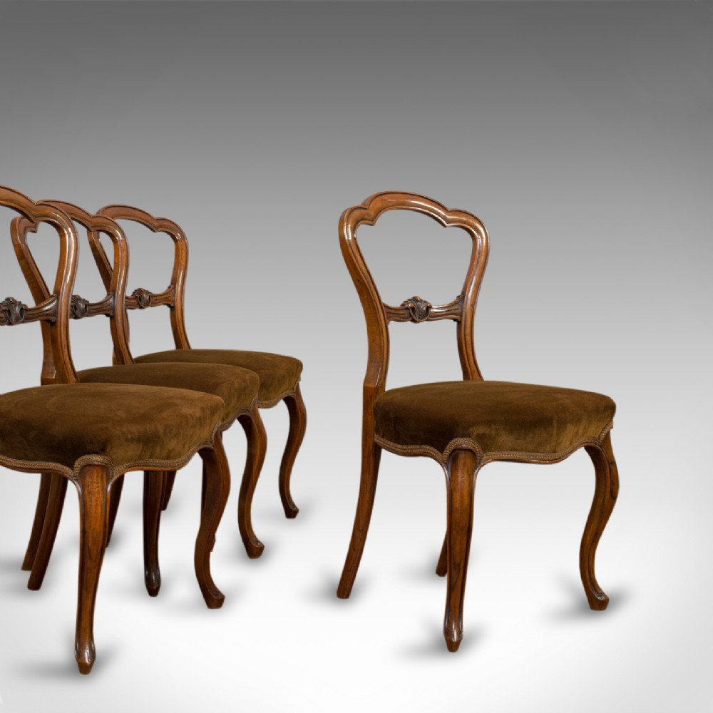 antique set of chairs english walnut suite 4 dining chairs victorian c1840