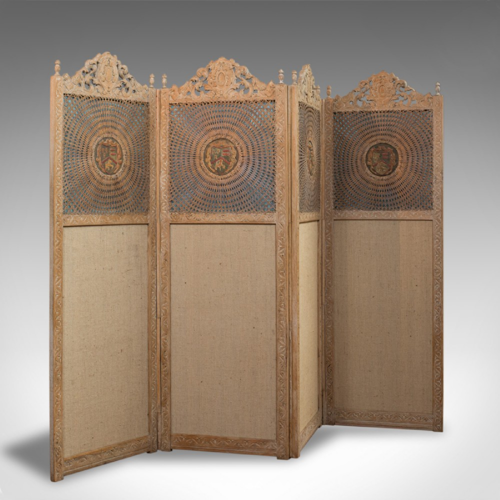 antique victorian screen english limed oak cane room divider wall panel