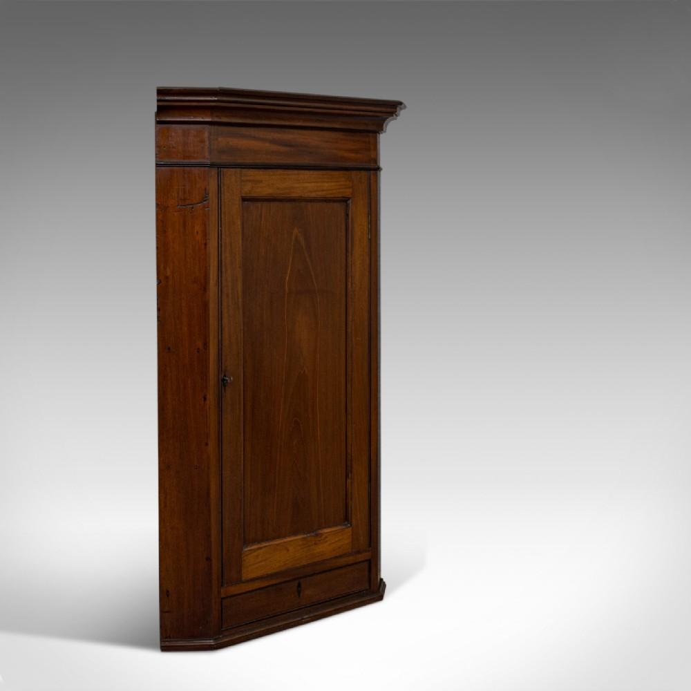 antique corner cabinet english walnut mahogany wall cupboard georgian