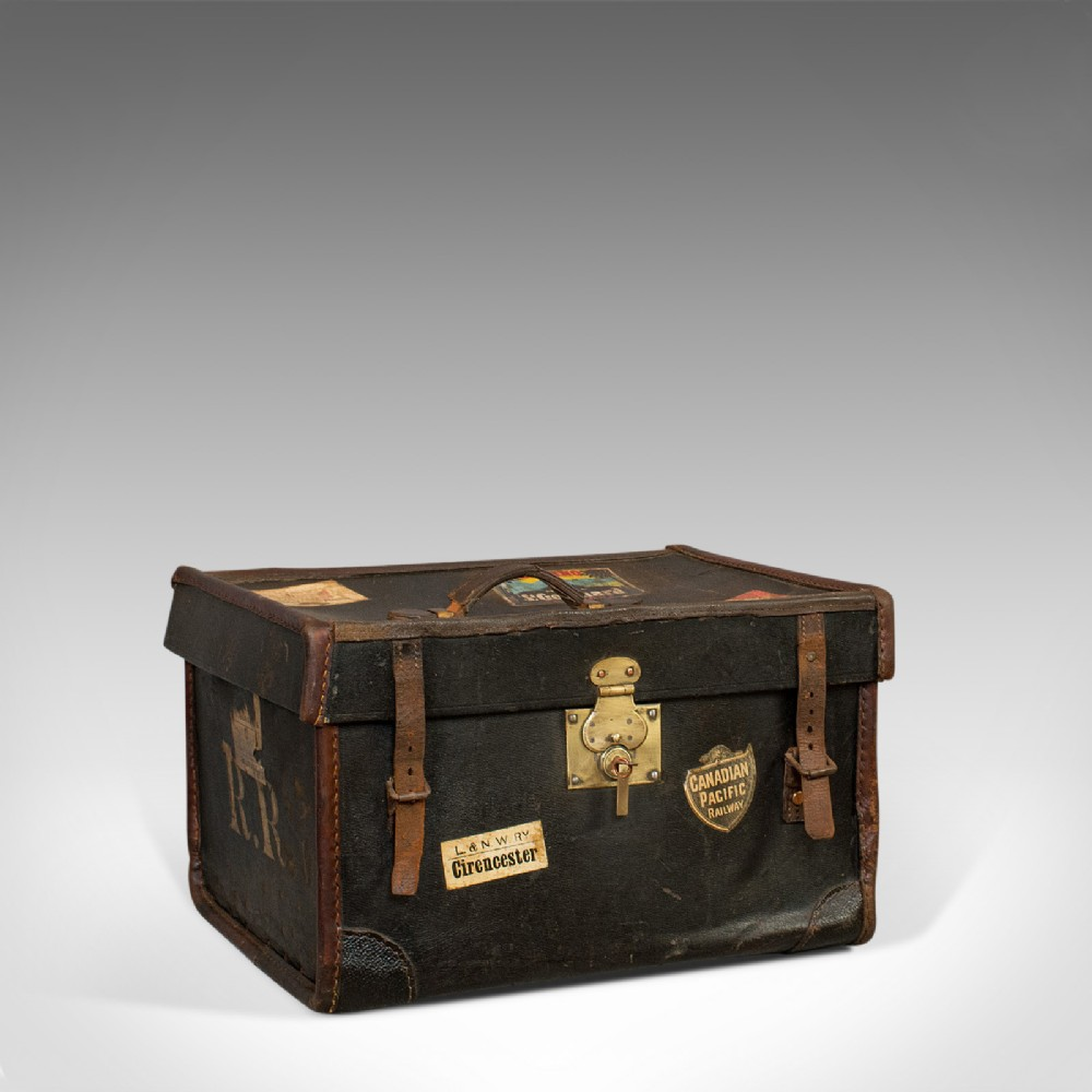 antique travel trunk english personal carriage chest hatbox circa 1910