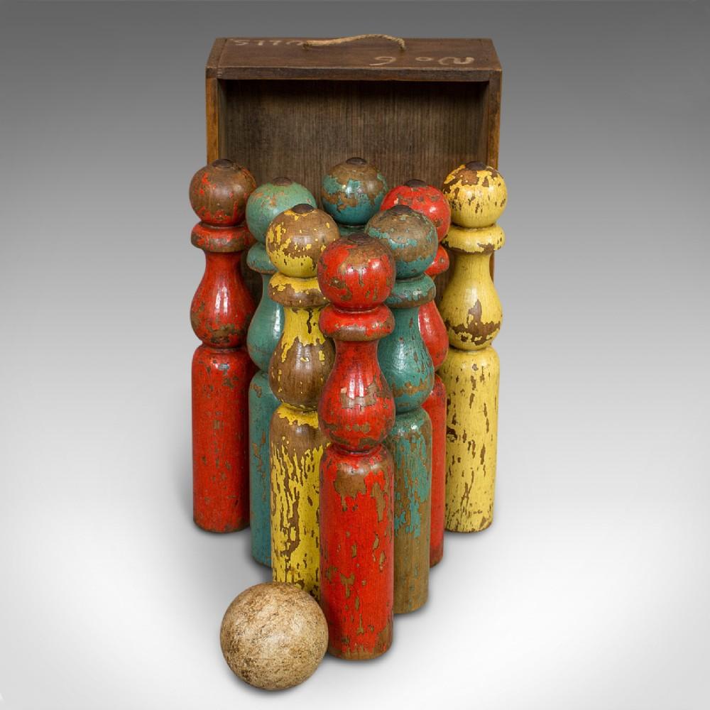 antique skittles set english pine indoor garden bowling oak victorian