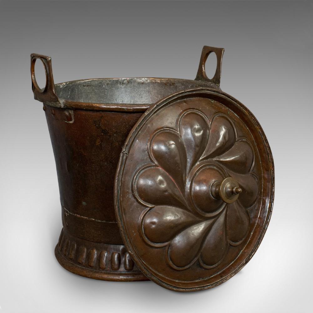 antique coal box french art nouveaux fireside bucket 20th century c1920