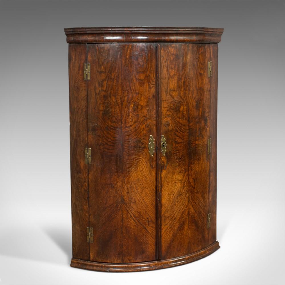 antique corner cupboard english oak bow front hanging cabinet georgian